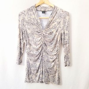 Ann Taylor Brown Paisley 3/4 Sleeve Top